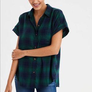 AE Ahmazingly Soft Flannel Short Sleeved Shirt